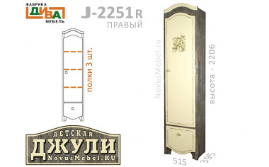 1-дверный шкаф с 3-мя полками - J-225R правый