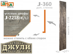 Завершающая стенка J-360, для углового шкафа