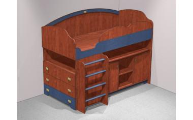 Кровать-чердак, со столом и двумя тумбами - С-1943 ЛЕВАЯ
