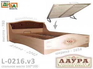 Кровать - сп. м. 160*200, с подъемным мех. - L-0216.v3