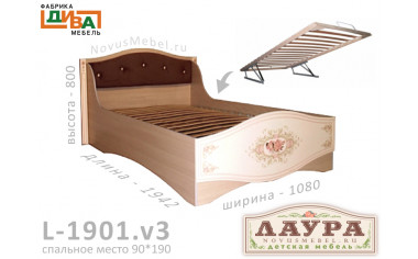 Кровать - сп. м. 90*190, с подъемным мех. - L-1901.v3