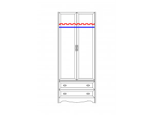 2-х дверный шкаф со штангой - N-2211 Art