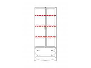 2-х дверный шкаф с полками - N-2212 Art