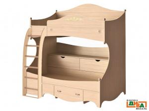 2-х ярусная кровать - ЛЕВАЯ - N-1932L (дуб)