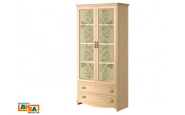 2-х дверный шкаф (двери - стекло) - N-2212G (дуб)