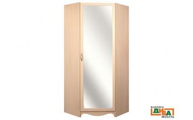 Угловой однодверный шкаф с зеркалом - N-2218М (дуб)