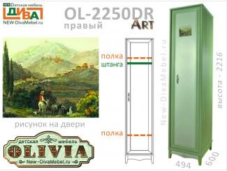 1-дверный шкаф (глубокий, ПРАВЫЙ) - OL-2250DR Art