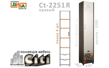 1-дверный шкаф с ящиками ПРАВЫЙ - Сt-2251R