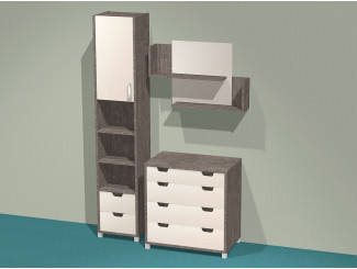 Набор мебели СИТИ - шкаф-пенал, комод, полка - (скидка 30%)