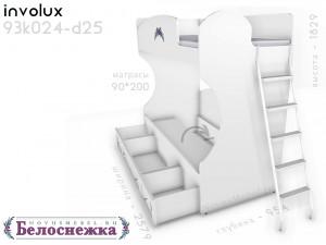 Двухярусная кровать, с металической лестницей СПРАВА - 93к024-d25