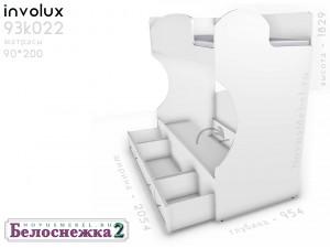 Двухярусная кровать, без лестницы - 93к022, вход СПРАВА