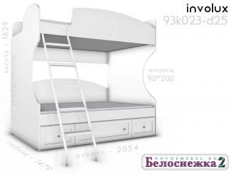 Двухярусная кровать, с металической лестницей СЛЕВА - 93к023-d25