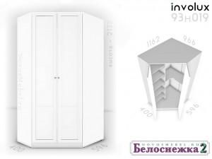 Угловой 2-х дверный шкаф - 93н019, полки СЛЕВА