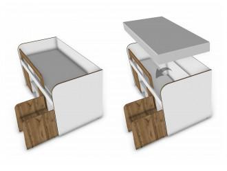 Кровать-чердак с выкатной лестницей - 118к002
