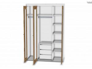 3-х дверный шкаф - 118н005 со штангой и полками