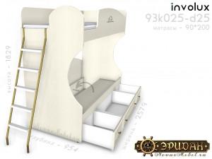 Двухярусная кровать с лестницей - 93к025-d25