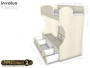 Двухярусная кровать, без лестницы - 93к022