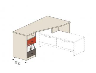 Угловой стол на тумбу, ящики СЛЕВА - 92в003