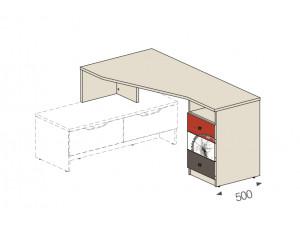 Угловой стол на тумбу, ящики СПРАВА - 92в004
