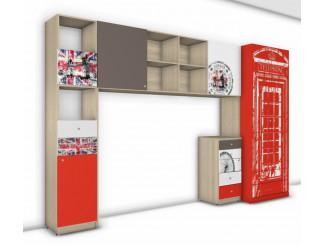Набор мебели - 2х дверный шкаф, стеллаж, комод и большая полка с опорами - Гео Лондон - (скидка 35%)