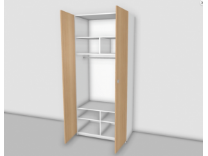 2-х дверный шкаф со штангой и полками - 53н053