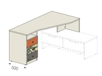 Угловой стол на тумбу - тумба СЛЕВА - 92в003