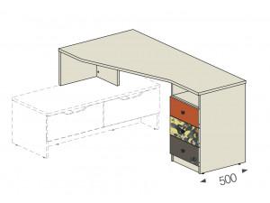 Угловой стол на тумбу - тумба СПРАВА - 92в004