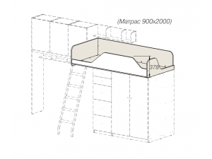 кровать-чердак без лестницы - 92к001