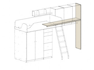 Подставка под полки СПРАВА, для кровати-чердака - 92k006