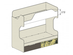 2-х ярусная кровать с 2-мя ящиками - 92k053, вход СЛЕВА
