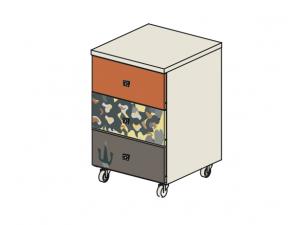 Тумба на колесиках с 3мя ящиками - 92т038