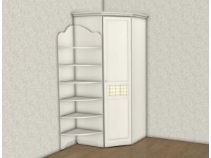 Угловой 1-дверный шкаф (ЛЕВЫЙ) - 69н038, с карнизами