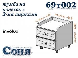 Тумба с 2-мя ящиками на колесиках - 69т002