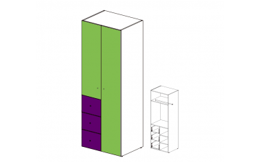 Шкаф двух-дверный с ящиками - 51н021