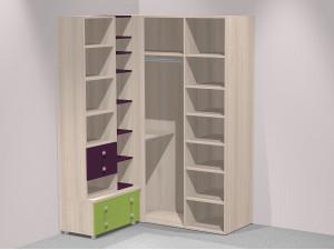 Набор мебели из 4-х дв. шкафа, стеллажа, 1-дв. шкафа и тумбы - Солнечный город - (скидка 50%)