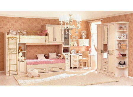 Кровать-чердак на двух шкафах, сп. место 80*190, с металлической лестницей - 510.020 (универсальная L/R)