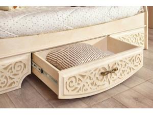 Кровать-тахта с мягкой и резной спинкой и с ящиком, сп. место 80*190 - 510.190