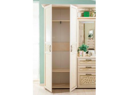 Двух-дверный шкаф с 2-мя полками и вешалкой и крючками внутри - 125.021