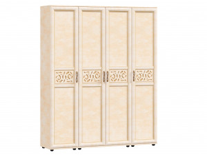 Четырех-дверный шкаф с полками с вешалкой и с доп. крючками внутри - 125.021-011-011