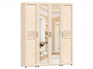 Четырех-дверный шкаф с 2-мя зеркалами с полками и с вешалкой - 125.022-011-011