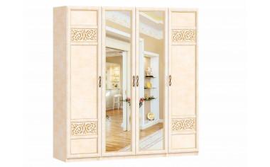 4-х дверный шкаф с зеркалами со штангой и полками - спальня Александрия