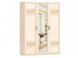 Трех-дверный шкаф с зеркалом со штангой и с полками внутри - 625.053-041