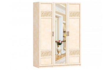 3-х дверный шкаф с зеркалом со штангой и полками - спальня Александрия