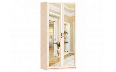 2-х дверный шкаф с зеркалами со штангой и полками - спальня Александрия