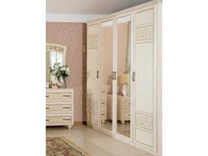 4х-дверный шкаф с 2-мя зеркалами со штангой и с полками внутри - 625.053-041-041