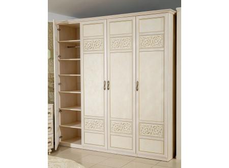 4х-дверный шкаф со штангой и с полками внутри - 625.051-041-041