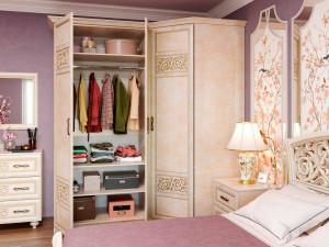 Двух-дверный шкаф с зеркалом, со штангой и с полками внутри - 625.053