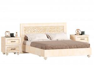 Кровать 160*200 с решеткой, без матраса, с 2-мя тумбами - 625.011M-080-080 (набор Александрия-10)