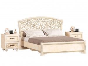 Кровать 160*200 с решеткой, без матраса, с 2-мя тумбами - 625.181-080-080 (набор Александрия-9)
