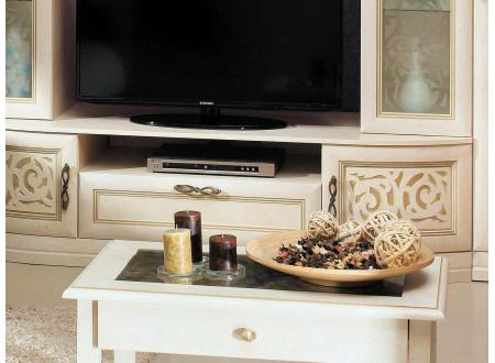 Большая стойка под ТВ, с 2-мя витринами по бокам, полкой вверху и тумбой внизу - 618.010